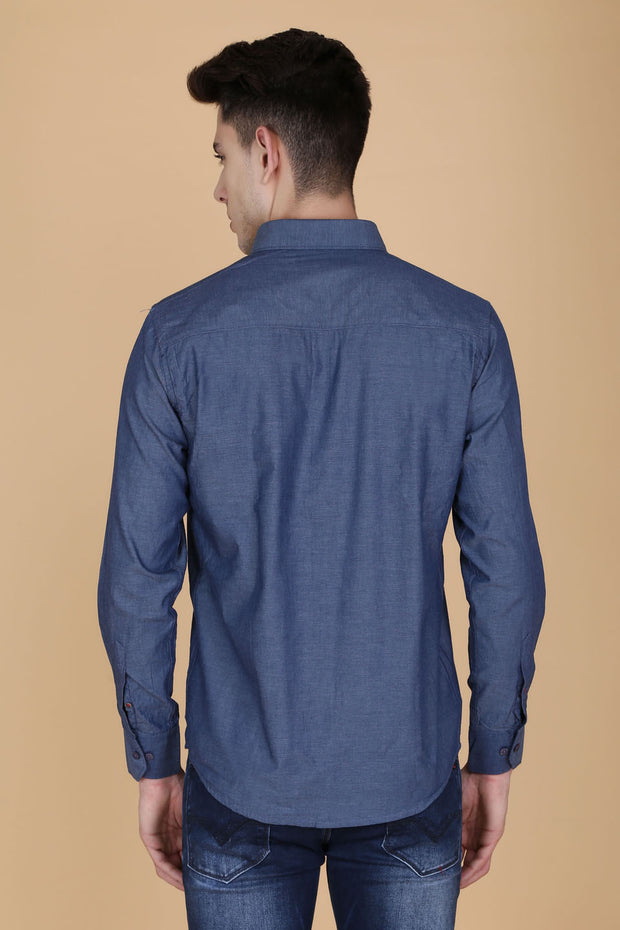 Indigo Blue Cotton Plain Slim Fit Casual Shirt