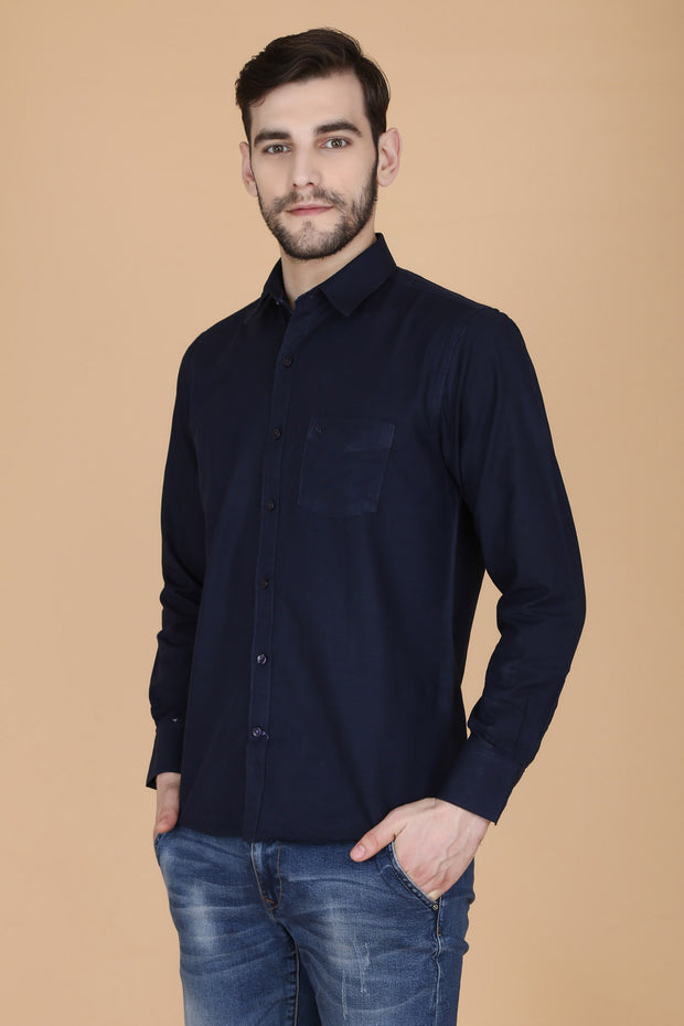 Navy Blue Cotton Plain Slim Fit Casual Shirt