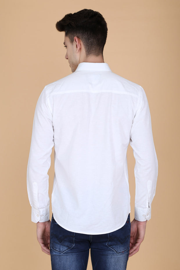 White Cotton Plain Slim Fit Casual Shirt