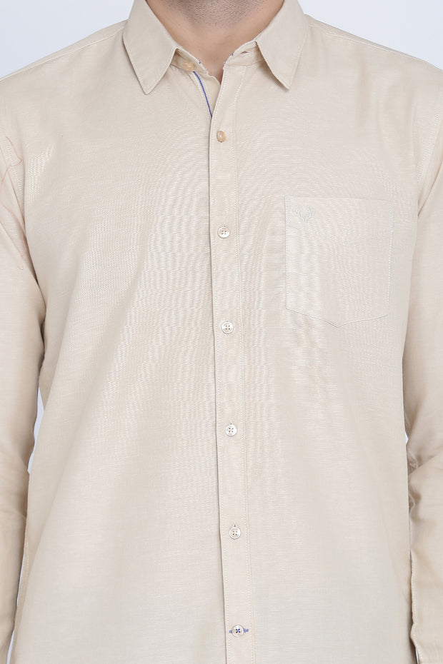 Beige Cotton Plain Slim Fit Casual Shirt