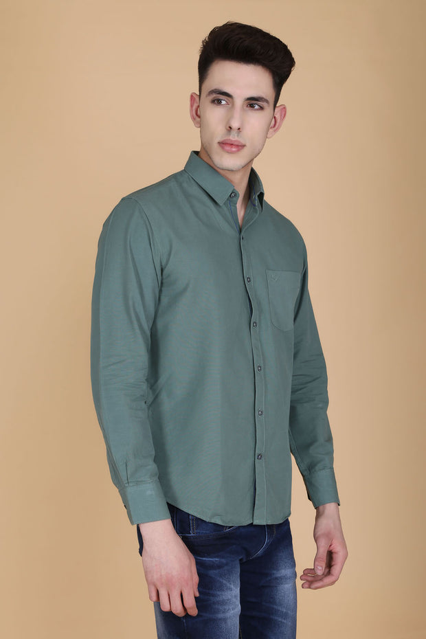 Grey Cotton Plain Slim Fit Casual Shirt