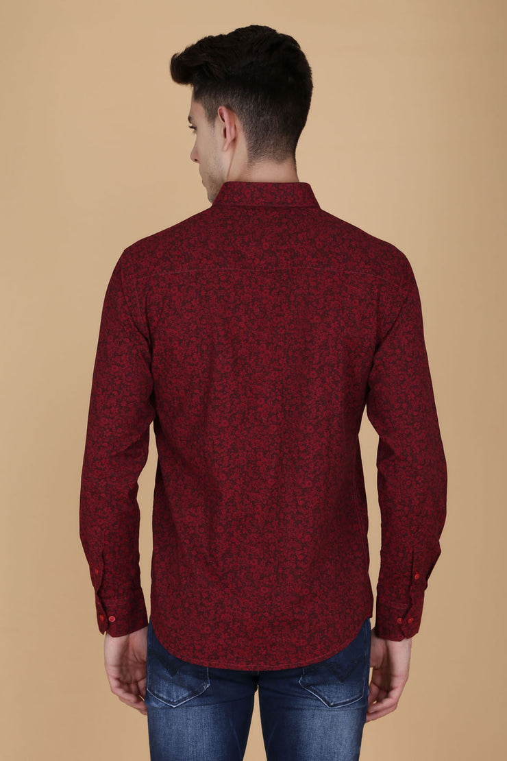 Maroon Cotton Long Sleeves Floral Print Shirt
