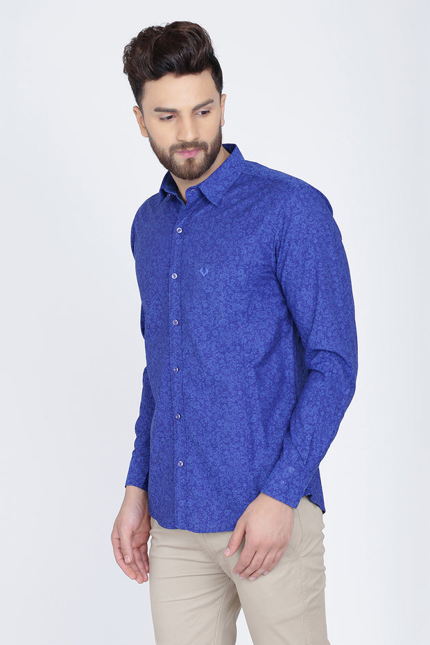 Indigo Blue Cotton Long Sleeves Floral Print Shirt