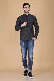 Black Cotton Long Sleeves Floral Print Shirt