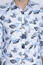 White Cotton Print Full Sleeves Shirt