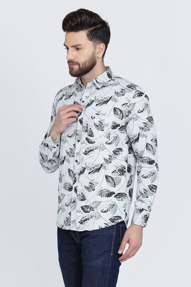 Light Green Cotton Print Full Sleeves Shirt