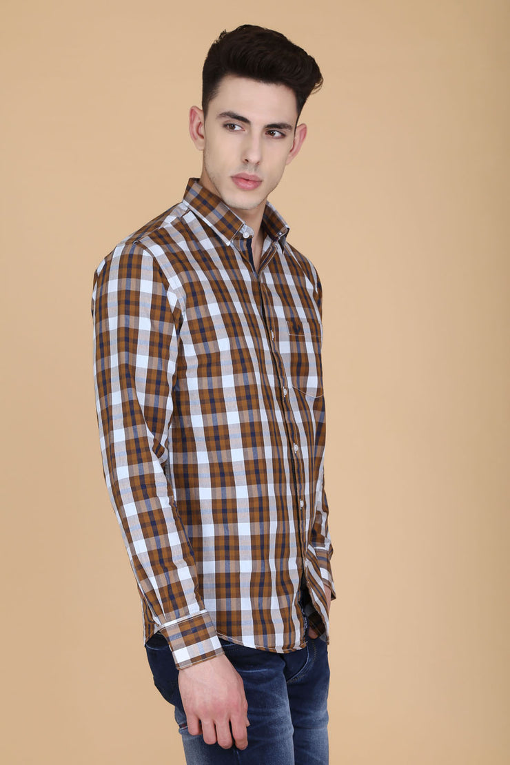 Brown Cotton Plaids Slim Fit Casual Shirt