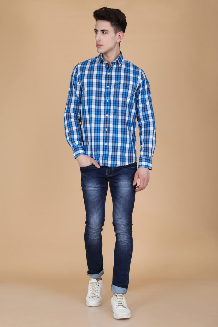 Dark Blue Cotton Plaids Slim Fit Casual Shirt