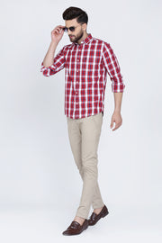 Red Cotton Plaids Slim Fit Curved Hem Shirt