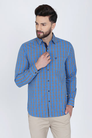 Blue Cotton Plaids Slim Fit Casual Shirt