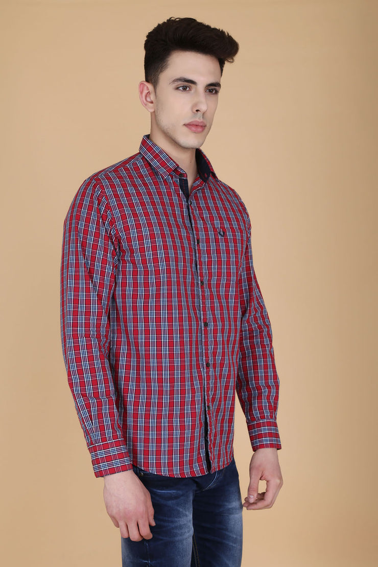 Pink Cotton Plaids Full Sleeves Slim Fit Shirt