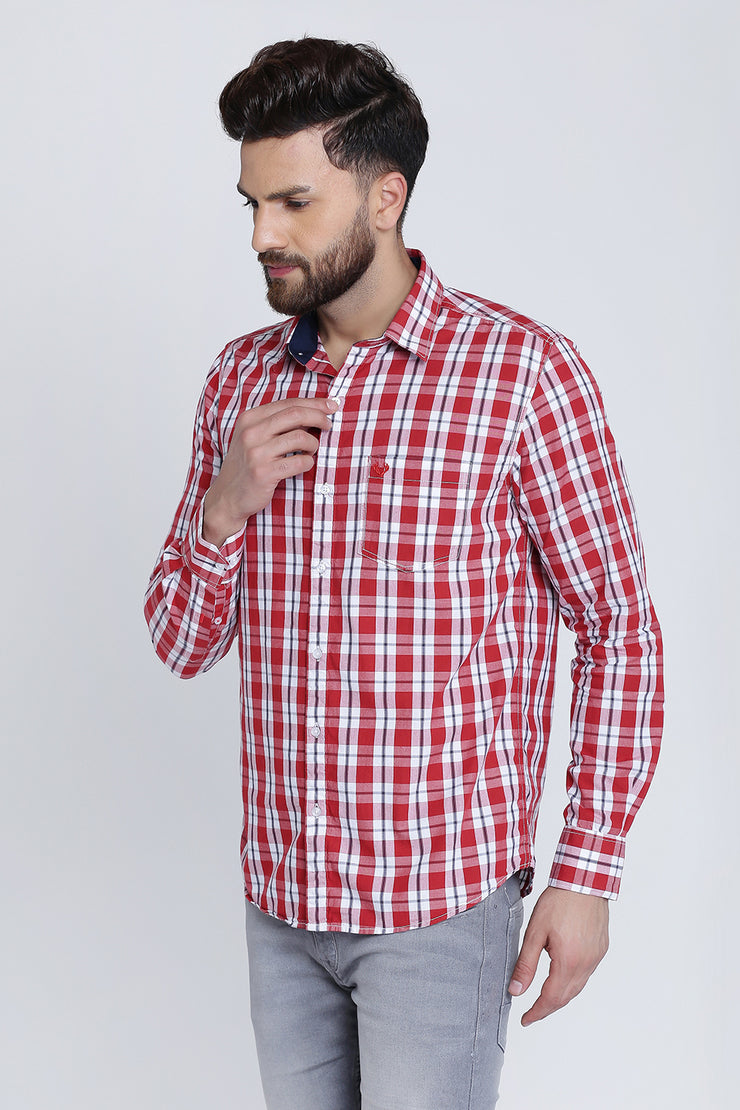 Pink Cotton Plaids Casual Slim Fit Shirt