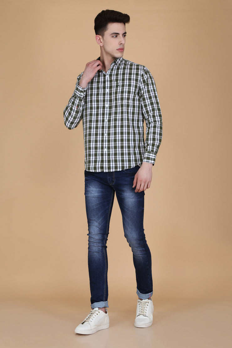Olive Green Cotton Plaids Casual Slim Fit Shirt