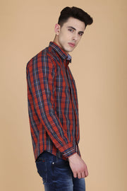 Red Cotton Plaids Slim Fit Casual Shirt