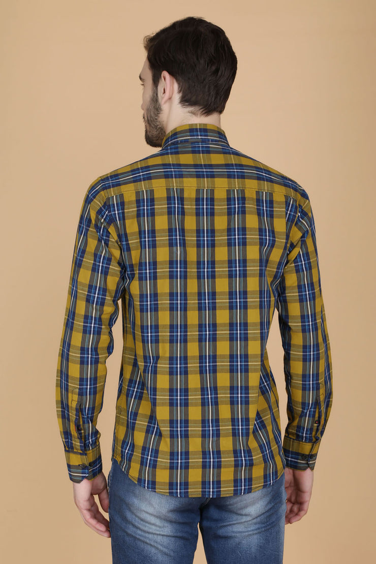Yellow Cotton Plaids Slim Fit Casual Shirt