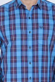 Light Blue Cotton Plaids Slim Fit Long Sleeves Shirt