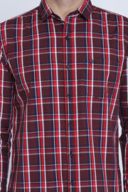 Brown Cotton Plaids Slim Fit Full Sleeves Shirt
