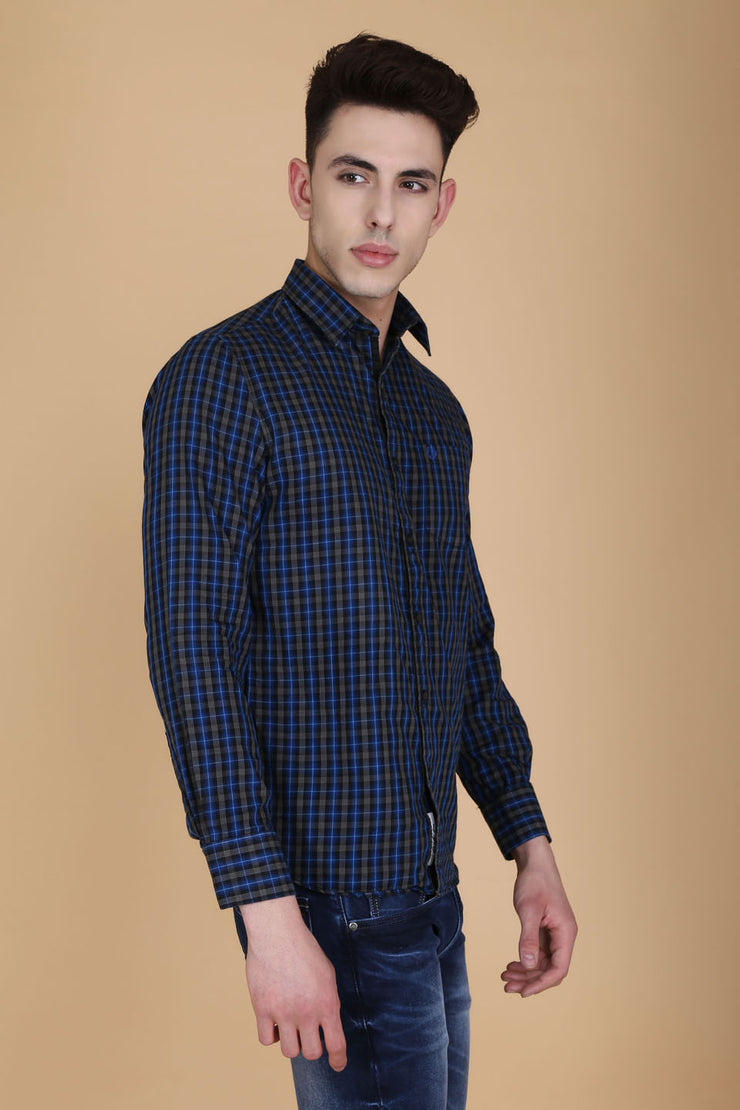 Navy Blue Cotton Plaids Slim Fit Casual Shirt