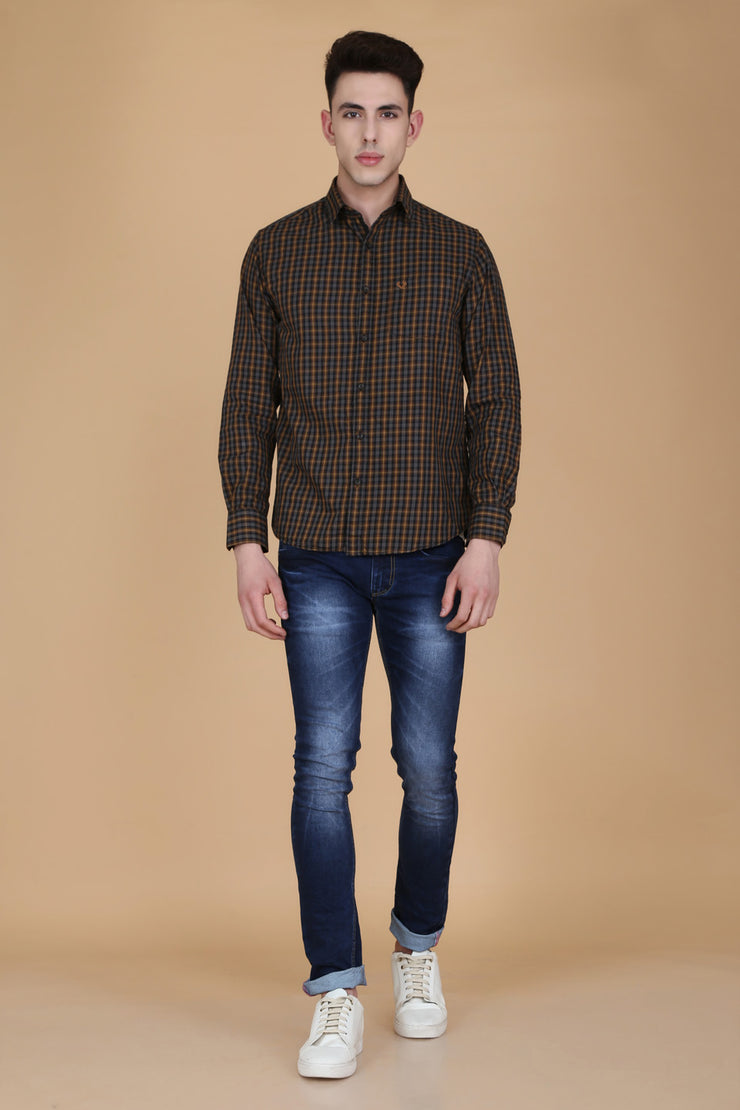 Black Cotton Plaids Slim Fit Casual Shirt