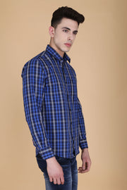 Navy Blue Cotton Plaids Slim Fit Full Sleeves Shirt
