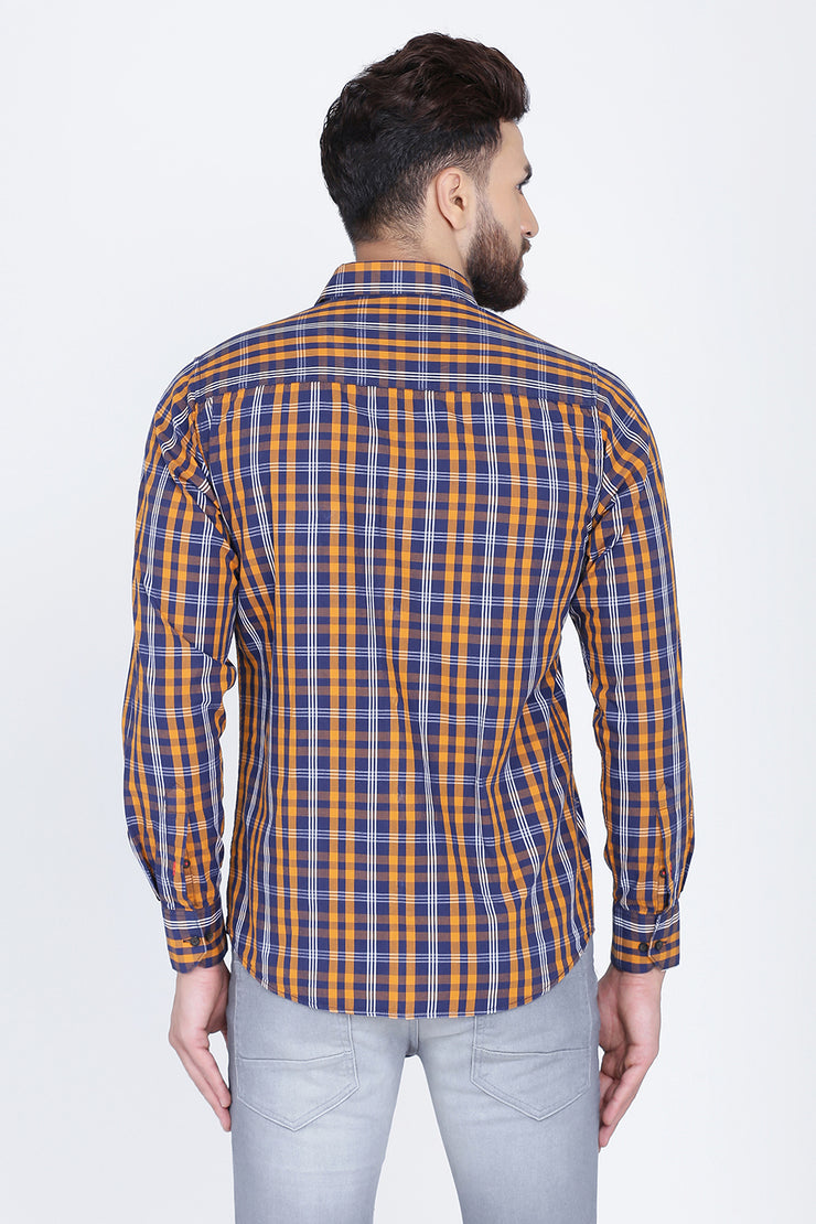 Yellow Cotton Plaids Slim Fit Long Sleeves Shirt
