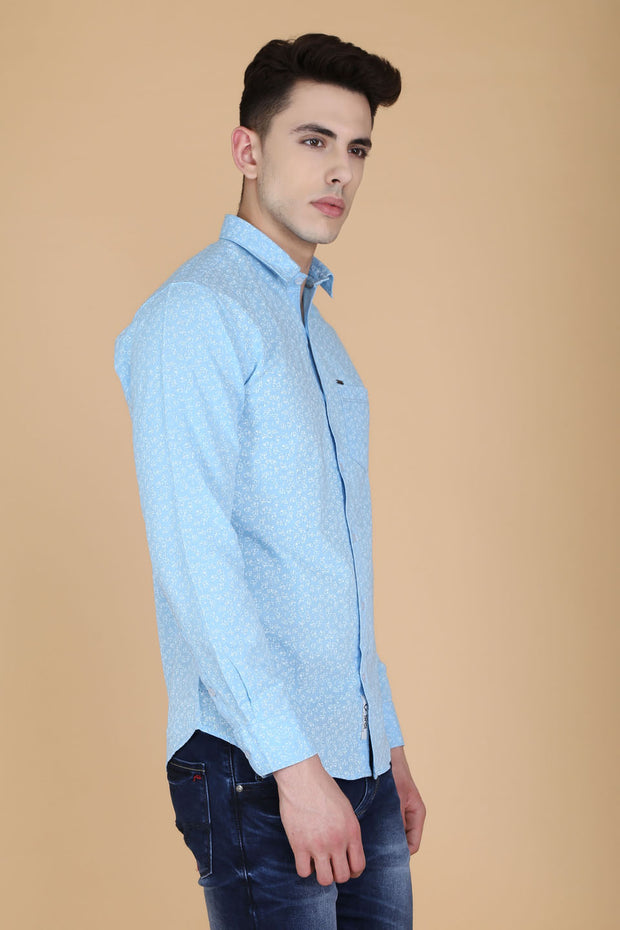 Sky Blue Cotton Print Slim Fit Casual Shirt