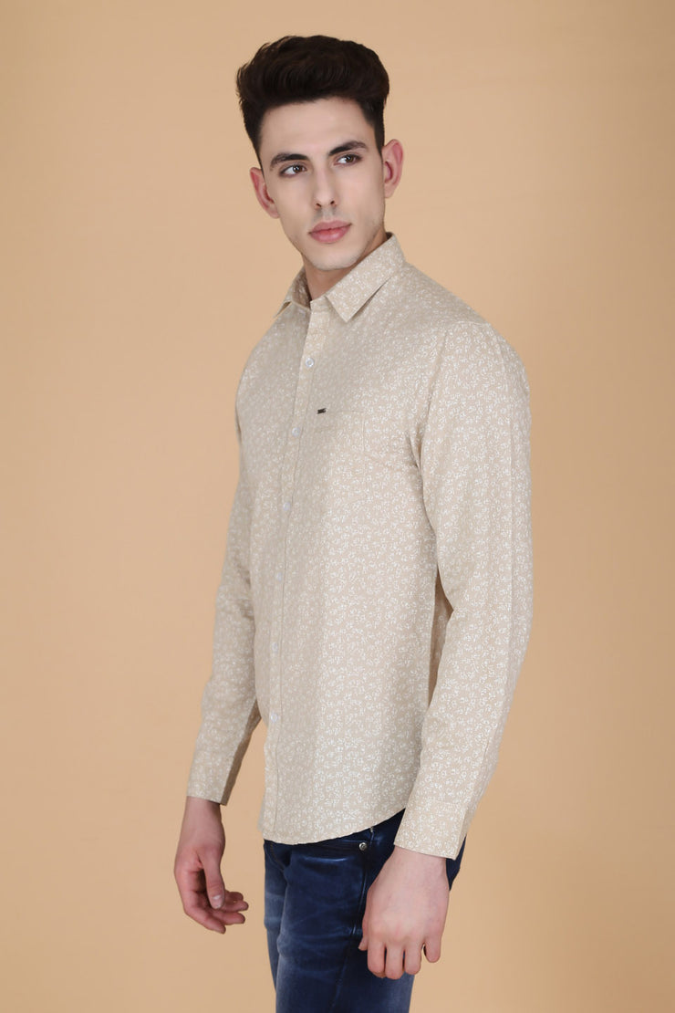 Beige Cotton Print Slim Fit Casual Shirt