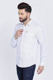 Blue Cotton Print Slim Fit Casual Shirt
