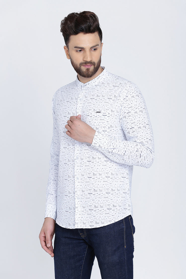 White Cotton Print Slim Fit Mandarin Collar Shirt