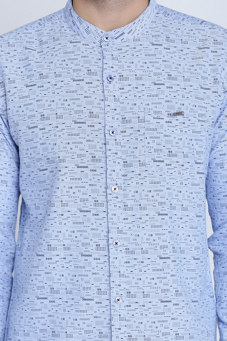 Light Purple Cotton Print Slim Fit Mandarin Collar Shirt