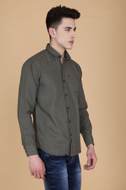 Grey Cotton Dot Print Slim Fit Casual Shirt