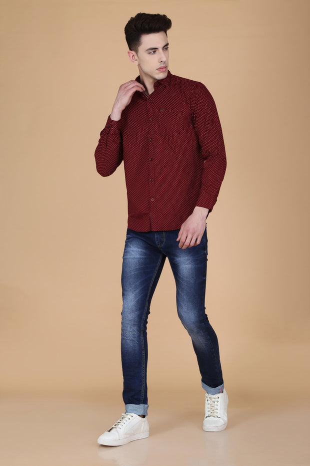 Maroon Cotton Dot Print Slim Fit Casual Shirt