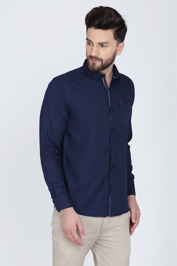 Navy Blue Cotton Dot Print Slim Fit Casual Shirt