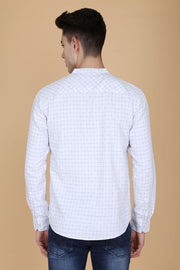 White and Grey Cotton Checks Print Mandarin Collar Shirt