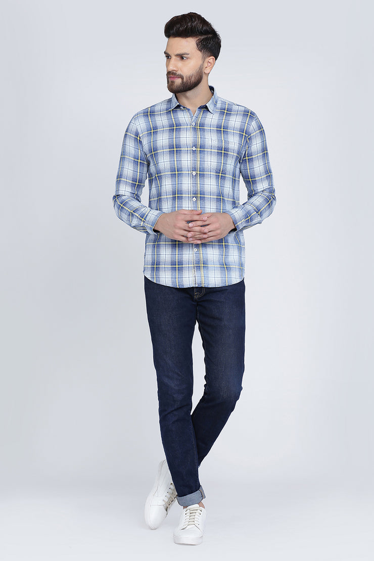 Blue Cotton Plaids Slim Fit Long Sleeves Shirt