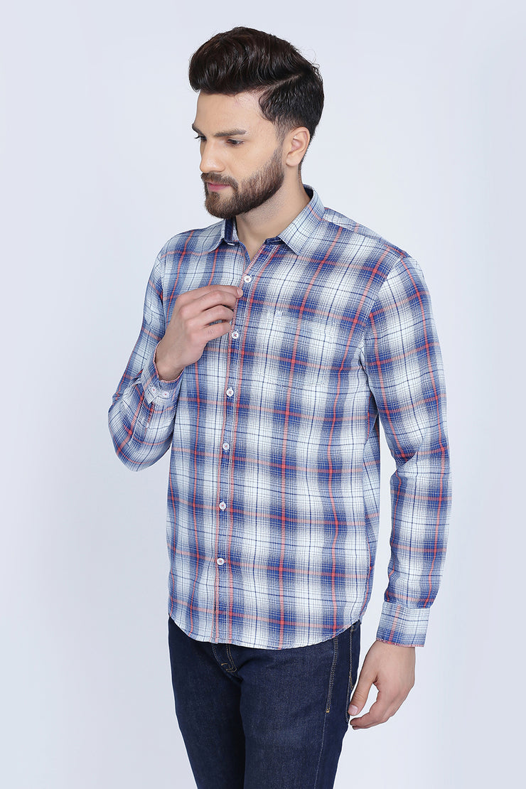 Dark Blue Cotton Plaids Slim Fit Long Sleeves Shirt