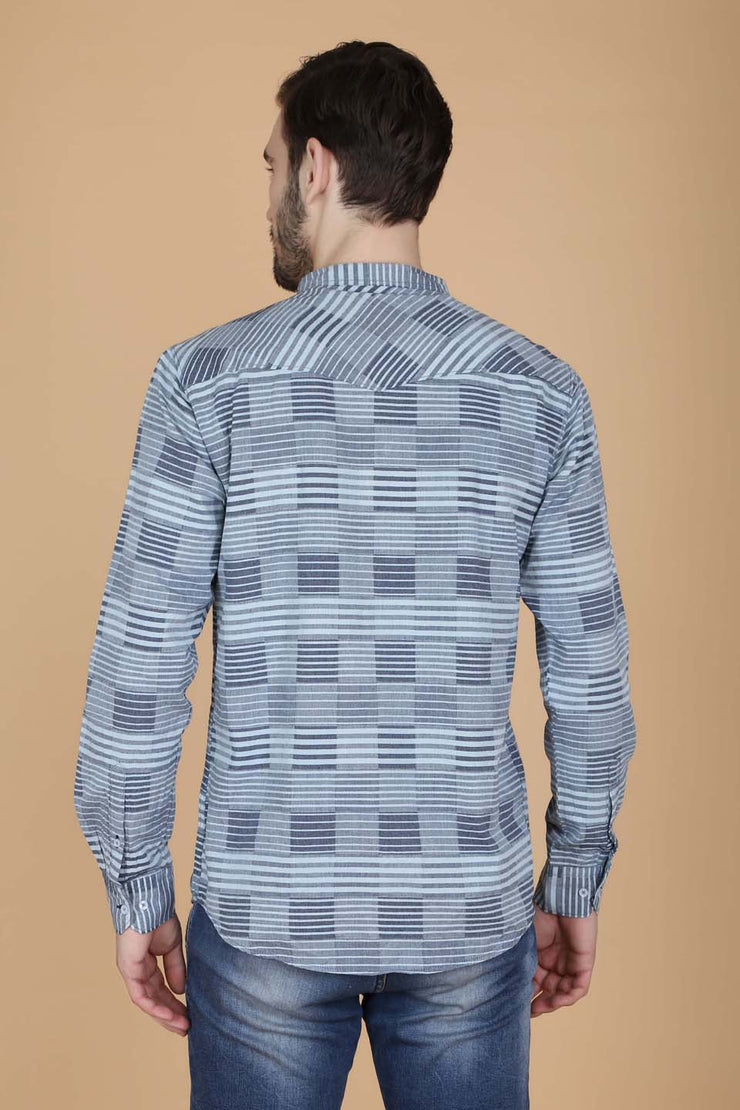 Grey Cotton Stripes Print Casual Shirt