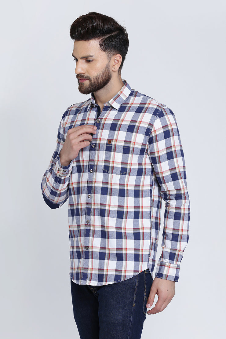Multicoloured Cotton Plaids Slim Fit Casual Shirt