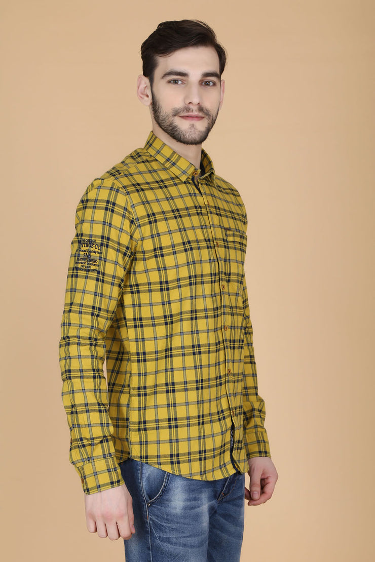 Yellow Cotton Plaids Slim Fit Spread Collar Shirt
