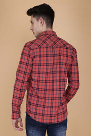 Pink Cotton Plaids Slim Fit Spread Collar Shirt