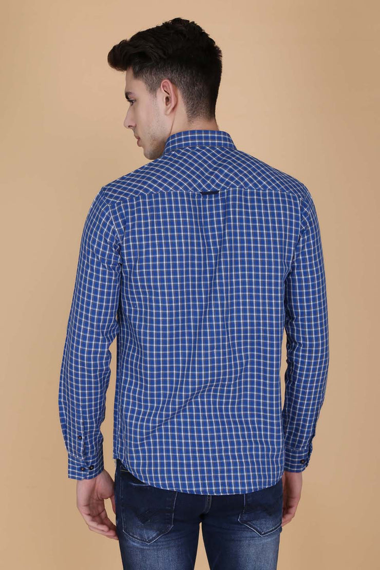 Navy Blue Cotton Window Checks Pattern Slim Fit Shirt