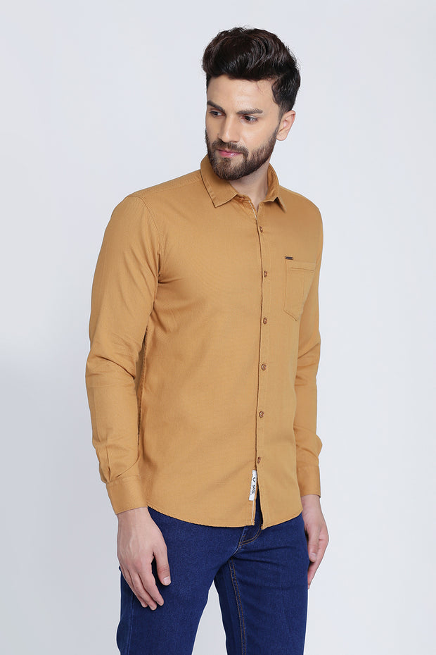 Beige Cotton Plain Spread Collar Slim Fit Shirt