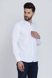 White Cotton Plain Spread Collar Slim Fit Shirt