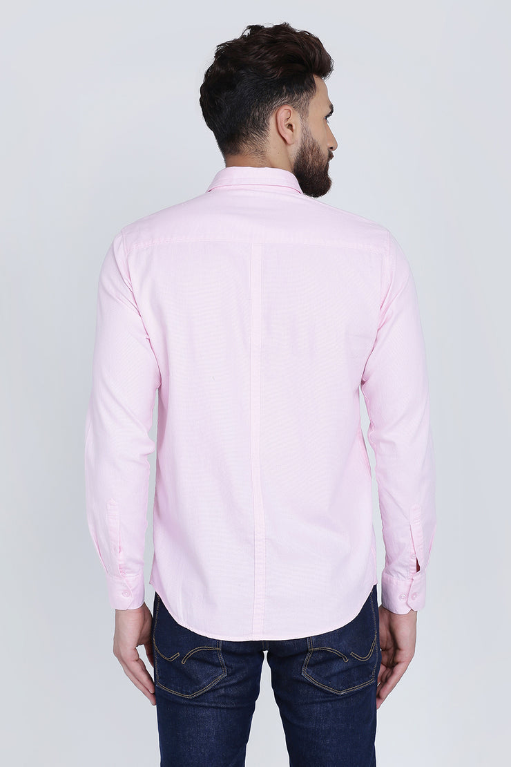 Light Pink Cotton Plain Spread Collar Slim Fit Shirt