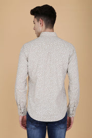 Cream Cotton Printed Full Sleeves Slim Fit Shirt