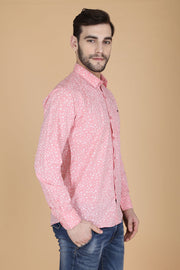 Light Pink Cotton Printed Full Sleeves Slim Fit Shirt