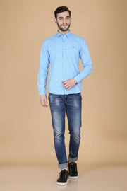 Light Blue Cotton Printed Full Sleeves Slim Fit Shirt