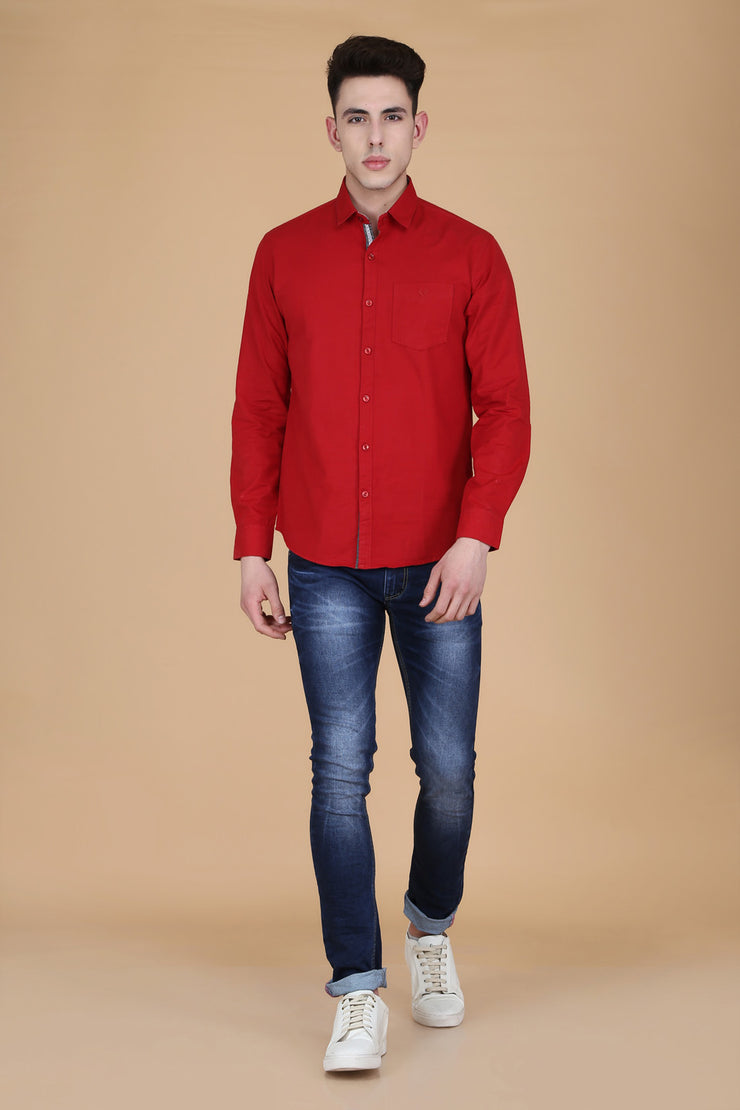 Red Cotton Plain Long Sleeves Slim Fit Shirt
