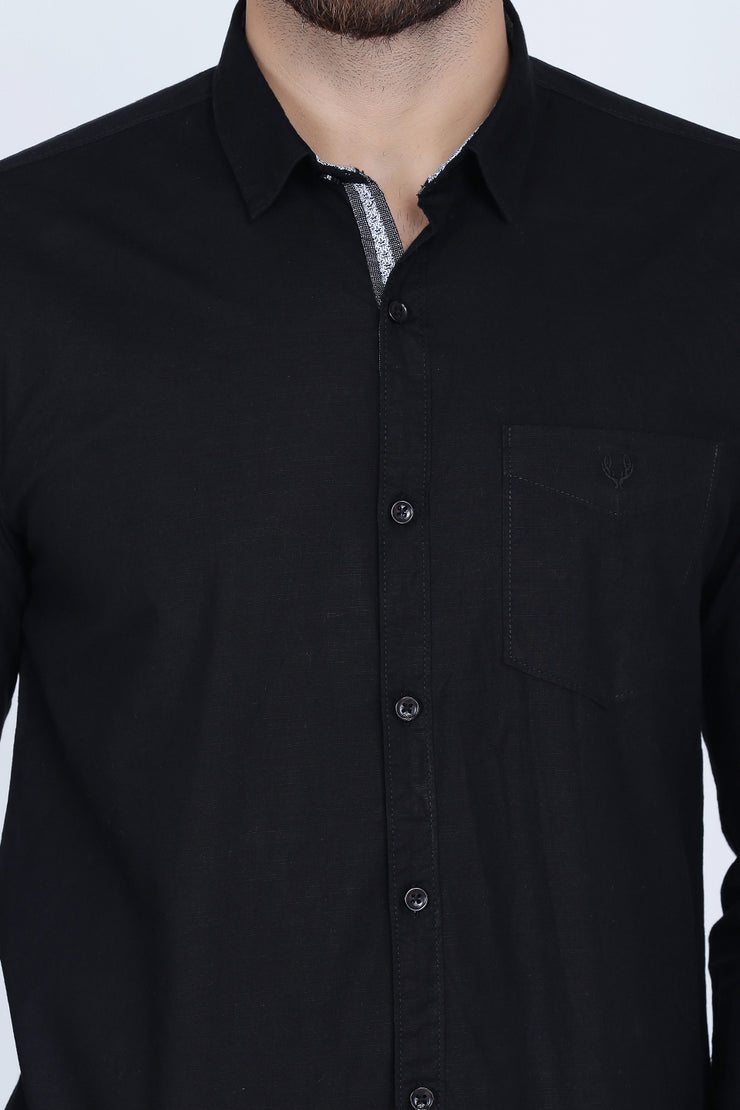 Black Cotton Plain Long Sleeves Slim Fit Shirt