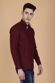 Maroon Cotton Plain Long Sleeves Slim Fit Shirt